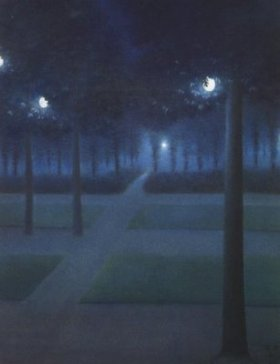 WilliamDegouvedeNuncques+Nocturne atTheRoyalParkBrussels+1897+MuseedOrsay